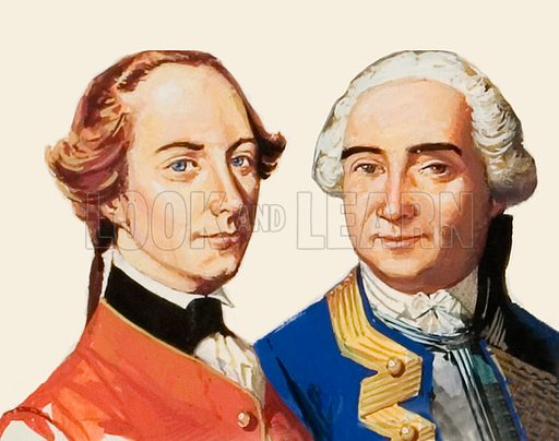 Two generals, James Wolfe (British) and Louis Montcalm (French).