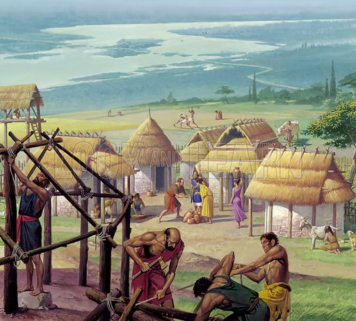 The early city of Rome was simply a collection of simple huts set on the Palatine Hill.