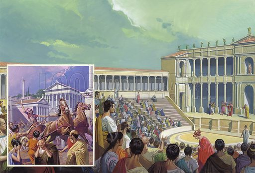 Ancient Roman Theatre.  For a brief while Roman theatre flourished.  But the crowds very quickly abandoned the plays, lured by the excitement of chariot-racing and other entertainments of the Circus Maximus.  The left inset shows reports of Hannibal's victories being received in Rome.  Original artwork for illustration on pp16-17 of Look and Learn issue no 1008 (4 July 1981).