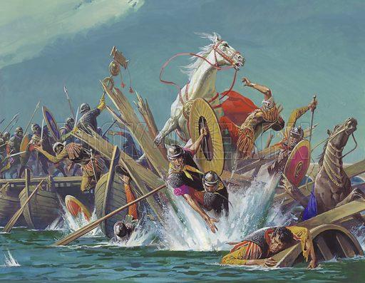 Death of Emperor Maxentius at the battle of Milvian Bridge, Rome, 312