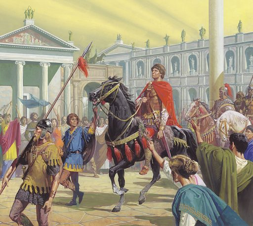 Theodoric enters Rome.  In the year AD500, Theodoric made a triumphant entry into Rome.  Under his leadership the city regained much of its former glory.
