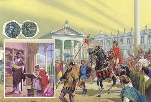 Theodoric enters Rome. In the year AD500, Theodoric made a triumphant entry into Rome. Under his leadership the city regained much of its former glory. The insets show Romans interesting themselves in learning, and two coins produced during the period when Odoscer was in power. Original artwork for illustration on p16–17 of Look and Learn issue no 1012 (1 August 1981).