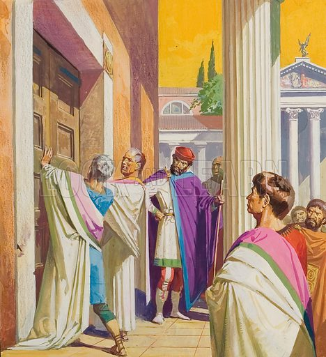 Ancient Rome.  It was traditional in times of war to open the doors of the Temple of Juno.  But, in this instance hard as they tried, the senators could not move them because the hinges had seized up.  Original artwork for illustration on p16 of Look and Learn issue no 1013 (8 August 1981).