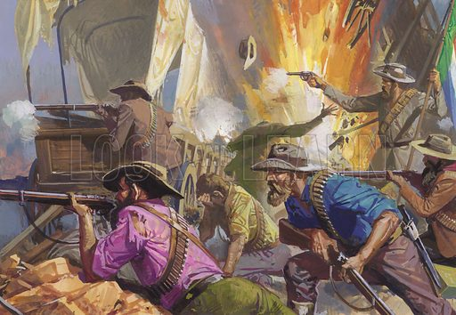 Boers defending a position against the British.