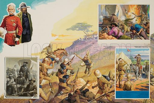 Boer War.  It was Boer versus Briton in one of the bitterest conflicts of modern times.  And against Britain's finest general (Lord Roberts) stood the settlers' toughest commander (Pier Cronje), ready to fight until he could fight no more.  The bottom right inset shows Cronje's surrender to Roberts on 27 February 1900.  Original artwork.