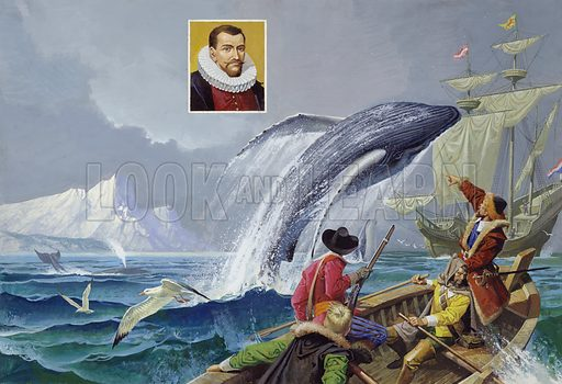 Henry Hudson, 17th Century Explorer.  Fearful that their captain was leading them to disaster, the crew of the Discovery seized him and thrust him into a boat with a few men to meet whatever fate awaited them.  During his search of the Arctic for a northern trade route, Henry Hudson discovered Jan Mayen Island.  So many whales swam in the waters around here that Hudson realised the profitability of setting up whaling stations in the north.  As a result, he became known as the father of the English whale fisheries on Spitsbergen, the Arctic island group.  Original artwork.