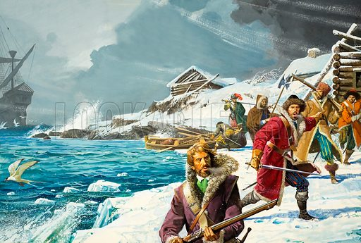Richard Chancellor, the man who discovered Russia. Richard Chancellor had originally been part of an expedition to find a north-east passage to China. Instead, he landed in Russia and sealed an important trade agreement with its Tsar, Ivan the Terrible. The illustration shows how, hammered by a storm, Richard Chancellor's ship found a safe anchorage at Vardo, the expedition's agreed rendezvous in an emergency. But none of the other ships arrived to join him.