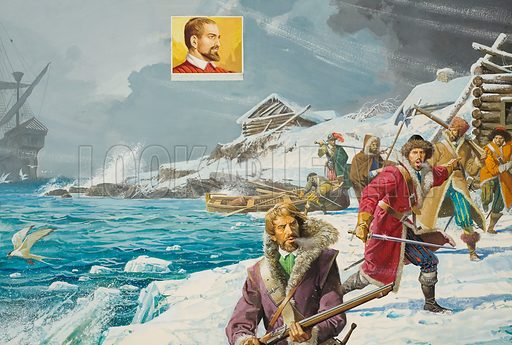 The Man who Discovered Russia. Richard Chancellor (inset) had originally been part of an expedition to find a north-east passage to China. Instead, he landed in Russia and sealed an important trade agreement with its Tsar, Ivan the Terrible. The illustration shows how, hammered by a storm, Richard Chancellor's ship found a safe anchorage at Vardo, the expedition's agreed rendezvous in an emergency. But none of the other ships arrived to join him. Original artwork.