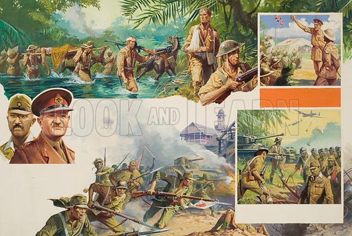 Jungle Warfare.  Original artwork for illustration in Look and Learn (issue yet to be identified.