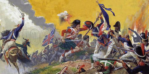 British and French soldiers fighting at the Battle of Waterloo, Napoleonic Wars, 1815.