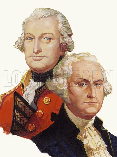 Lord Cornwallis (top) and George Washington, opponents in the American War of Independence.