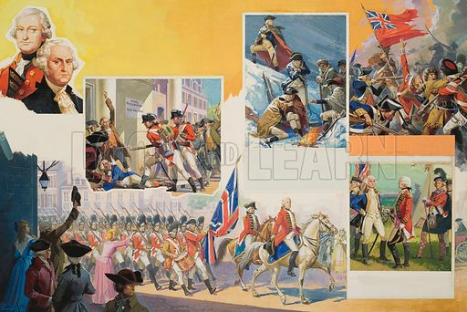 The loss of the American Colonies.  One of George Washington's main adversaries was Lord Cornwallis (top left portrait).  The English suffered a crushing defeat at Saratoga (top right) and now the French joined the war to fight against their old enemy.  The Netherlands and France decided that they would support the American cause which left the English with no allies.  The war, however, dragged on for some years with no conclusive results.  In 1781, General Cornwallis found himself up against Washington's troops at Yorktown, Virginia.  It seems that Cornwallis was awaiting reinforcements to come by sea when the combined French and American forces attacked.  His army was outnumbered four to one, and he surrendered, thus bringing an end to the war.  A year later Britain recognised American independence.  Original artwork.