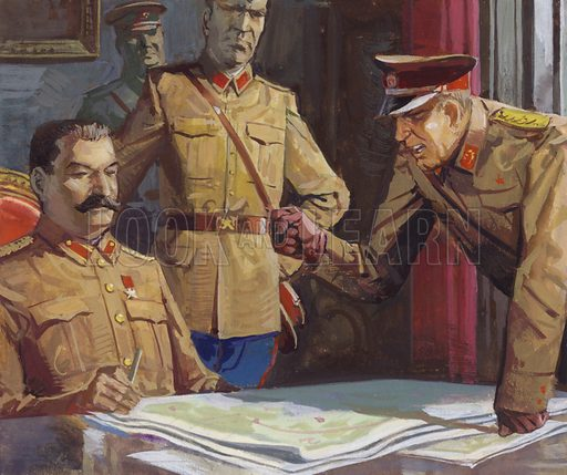 General Georgi Zhukov arguing with Stalin about military tactics.
