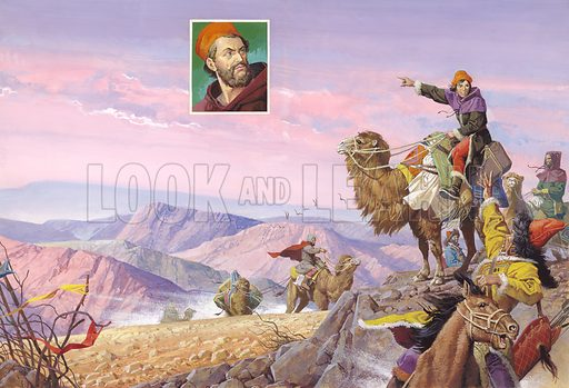 Venetian explorer Marco Polo and the road to Cathay (China). The lure of silks and treasure drew Marco Polo on a journey of a thousand days to reach China – where he was to remain for over twenty years. Without maps to guide them, Marco Polo and his companions had to cross burning deserts and high mountain ranges. Original artwork.
