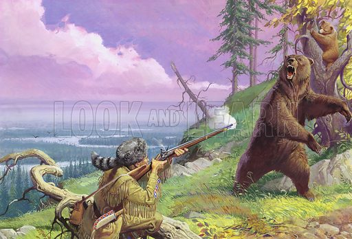 American explorer and frontiersman Daniel Boone shooting a bear while pioneering the Wilderness Road through the Appalachian Mountains, c1775. Nothing could deter pathfinder Daniel Boone from pushing iinto the unexplored West. Alone in the untamed countryside now known as Kentucky, Boone had to learn to fend for himself against wild animals and Indians alike. At the end of two years, all the dangers he had met had only made him more eager to return there with his family and settle down for good. Original artwork.
