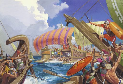 """Roman and Carthaginian ships fighting at the Battle of Mylae, First Punic War, 260 BC Rome had never fought a naval battle, so when it had to build a navy, it made sure that its legionaries had a sure way of boarding the enemy's boats. The """"corvus"""" was Rome's secret weapon at the Battle of Mylae A spiked grappling hook, it enabled the Roman navy to close with the Carthaginians and transfer the legionaries who could then fight on the enemy's decks."""