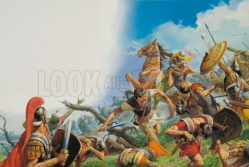 Hannibal's victory over the Roman army at the Battle of Cannae, Second Punic War, 216 BC With the horrific journey over the Alps behind them, Hannibal's Cathaginian army embarked on devastating victories that left Rome reeling. Cannae was the worst defeat the Roman Republic ever suffered: an estimated 70,000 were killed or captured. Thereafter Rome made sure that it avoided fixed battles with the invaders. Original artwork.