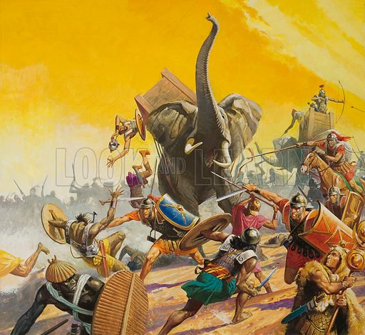 Armies of Hannibal and Scipio Africanus meeting at the Battle of Zama, Second Punic War, 202 BC The two greatest generals of their age, Hannibal and Scipio, met in battle at Zama in Tunisia in 202BC. Scipio's smaller, but far better trained, force won the day, after breaking up an attack by Carthaginian elephants. Now the fate of Carthage was sealed. Original artwork.