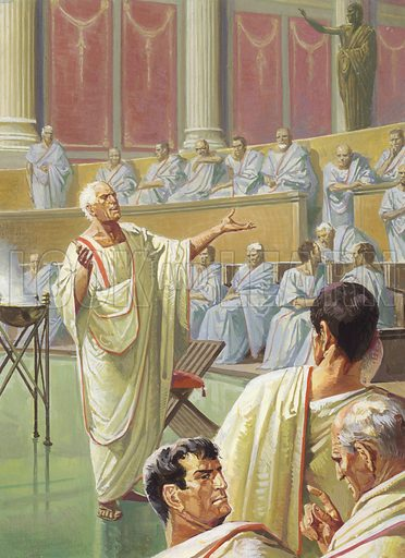 Cato warning his Senate colleagues about Carthage