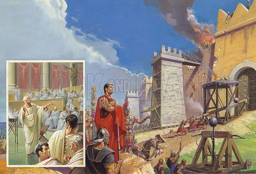 """Cato the Elder calling for the destruction of Cathage, Third Punic War, 149–146 BC Again and again Roman statesman Cato the Elder reminded his Senate colleagues that Rome would never be safe while Carthage remained. He always ended his speeches – whatever the subject – with the terrible words """"Delenda est Carthago"""" (Carthage Must Be Destroyed). Renowned as an orator, the veteran senator's speeches made a deep impression on the Romans. After two years of failure, Rome appointed Scipio Aemilianus to lead the assault on Carthage. He succeeded with a ruthlessness which still shocks to this day. Original artwork."""