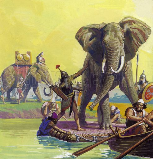 Clash of Giants: How Hannibal Marched into History. Hannibal's elephants. In order to make the elephants think they were still on dry land while crossing the Rhone, Hannibal had their rafts covered with earth. The trick worked. Original artwork from Look and Learn no. 924 (6 October 1979). Detail from A000102.