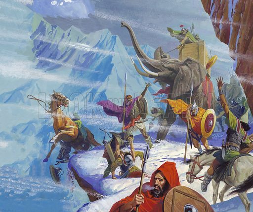 Hannibal's Carthaginian army crossing the Alps, Second Punic War, 218 BC It was an undertaking the like of which the world had never seen – a whole army, complete with elephants was being taken over the Alps to do battle with Rome. Hannibal lost half his men and many of his elephants in crossing the Alps, but it was an extraordinary achievement none the less. Original artwork from Look and Learn no. 924 (6 October 1979).