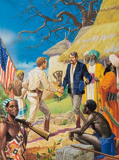 "The Immortal Meeting.  After years of isolation in the wilderness of Central Africa, David Livingstone whose disappearance had attracted the attention of the whole world, was finally tracked down by Henry Stanley.  Uttering the famous words, ""Dr. Livingtone, I presume?"", Stanley approached the legendary Livingstone.  Despite Stanley's urgings, the Scottish explorer refused to leave Africa; soon he would press on in an attempt to discover the source of the Nile.  Original artwork used for illustration on pp9-10 of Look and Learn issue non 873 (7 October 1978)."