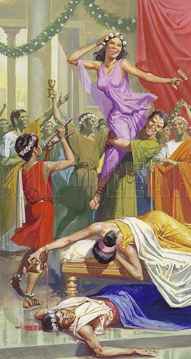 Saturnalia.  Pagan festivals were popular with the Romans.  The Saturnalia in December, held in honour of the god of Agriculture, provided people with several days of fun.  Work was suspended. slaves were freed temporarily, a mock king was chosen, and the carnival atmosphere pervaded everything.  Original artwork for part of illustration on p15 of Look and Learn issue no 1011 (25 July 1981).