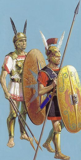 Samnites. Rome's early foes were the Samnites, who forced the entire Roman army to walk under the humiliating yoke, a symbolic frame of spears.  A Samnite warrior (left) is shown beside a Roman soldier of the same period.  Original artwork for inset on image A000117.