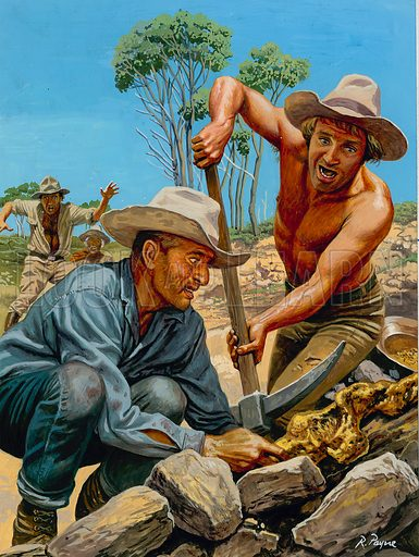 Gold Prospectors.  Gold prospectors in Western Australia rush over to marvel at the biggest lump of pure gold they had ever seen.  Miner Larcombe despaired of ever finding wealth on his diggings and was considering giving up - and then his son made a startling find.  Original artwork for illustration on p10 of Look and Learn issue no 962 (16 August 1980).
