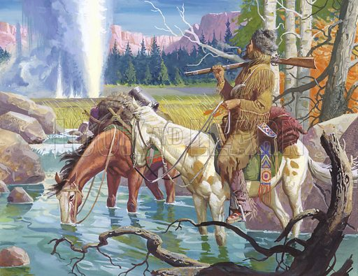 John Colter discovering the Yellowstone region, 1807–1808