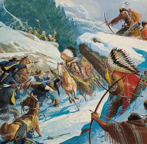The Fetterman massacre. Thousands of Sioux and Cheyenne warriors lay in wait beyond the hill towards which Captain Fetterman and his small force of soldiers were riding. A relief party arrived too late to save Captain Fetterman and his men from the Indian attackers.