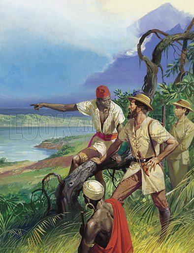 Samuel Baker at Lake Albert, picture, image, illustration
