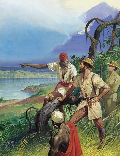 Samuel Baker and the Discovery of Lake Albert.  What a magnificent site must have met the eyes of Baker and his wife!  There before them lay the lake for which they had so desperately searched. Original artwork for illustration on p31 of Look and Learn issue no 1040 (13 February 1982).
