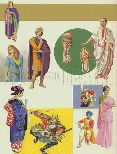 Ancient Costumes, including Greek (left), pre-historic (right), Babylonian (top right), and Egyptian (bottom).  Original artwork for Look and Learn (issue of magazine yet to be identified).
