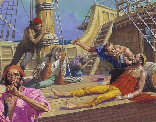 Ferdinand Magellan's sailors starving on the voyage across the Pacific, 1521.