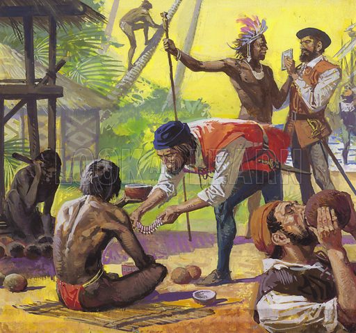 Ferdinand Magellan's men meeting friendly natives in the Philippines and trading for food, 1521.