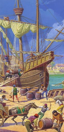 Ferdinand Magellan's fleet. After 18 months making repairs to his fleet, Magellan was at last able to get down to the task of stocking up his ships with supplies for the arduous voyage ahead.