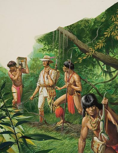 Henry Bates, Explorer of the Amazon Basin.  On his trips in to the jungle, Bates would dress himself as a kind of walking specimen case, armed with a net, bags, hooks and thongs as well as a pin-cushion attached to his shirt.  Original artwork for illustration on p31 of Look and Learn issue no 1042 (27 February 1982).