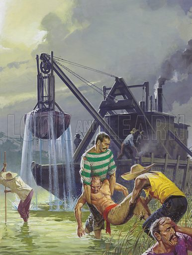 Construction of the Panama Canal. Working and living in areas of swamp with poor housing and insufficient food, the men had little chance of remaining well. But the most fatal scourges, malaria and yellow fever, from which many collapsed, were passed to them from a mosquito's bite.