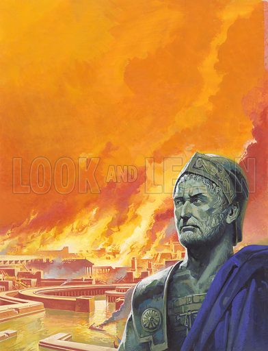 Hannibal with Carthage in Flames.  It was a sight that Hannibal was thankfully spared.  The city for which he had fought so long against Rome, taken by the enemy, was now in flames, and its population dead or in chains.  Soon it would be level with the sands of the Sahara.  Original artwork for illustration on p 18 of Look and Learn issue no 928 (3 November 1979).