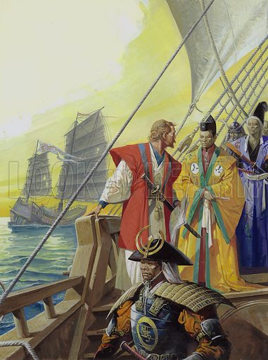 Western Ships in Japan.  Will Adams, by now thoroughly at home in Japan, was ordered to build two ships like those in which he had arrived.  Within five years he had built two - the very first European-style vessels to be built in that country.  Original artwork for illustration on p31 of Look and Learn issue no 1039 (6 February 1982).