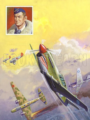 Spanish Civil War.  Colonel Chennault (inset) organised a volunteer force of American fliers who became famous throughout the world as the Flying Tigers.  Original artwork for Look and Learn issue no 954 (3 May 1980).