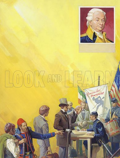 American Civil War. Almost 150,000 men of Irish descent were recruited into the Union army during the American civil war, many of them into the special Irish Brigade. Both sides played on Irish nationalism – posters appeared reminding expatriate Irishmen of victories over the English; but the outcome of the war did nothing for Irish freedom. Inset shows one of Ireland's famous fighting sons, Henry Knox, who rose to become Commander-in-Chief of the American army in 1783. Original artwork for illustration on p10 of Look and Learn issue no 952 (19 April 1980).