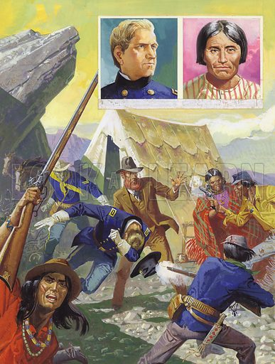 "Modoc Indians. ""Take away your soldiers and give us back our land,"" cried the Indian chief. When General Canby (left portrait) refused, the Indians, led by Chief Kintpuash (right portrait), drew hidden guns and sprang into action. Original artwork for illustration on p10 of Look and Learn issue no 919 (1 September 1979)."