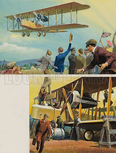 Transatlantic Flight. Original artwork for Look and Learn (issue yet to be identified).