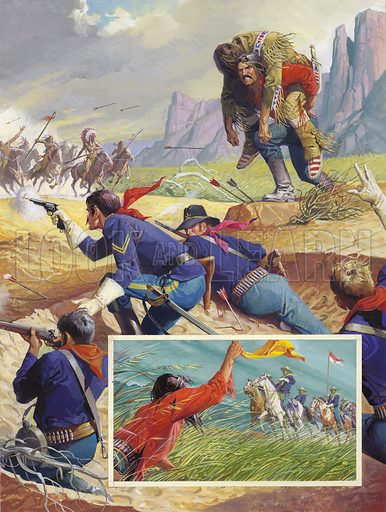 The Heroes of Buffalo Wallow.  Desperately Billy Dixon heaved his wounded companion across his back and began the dangerous journey back to the safety of the buffalo wallow (an indentation in the ground created by buffalos).  The inset shows Dixon wave with relief as he realises that the horsemen approaching him were Cavalry and not Indians.  Original artwork for illustration on p31 of Look and Learn issue no 884 (23 December 1978).