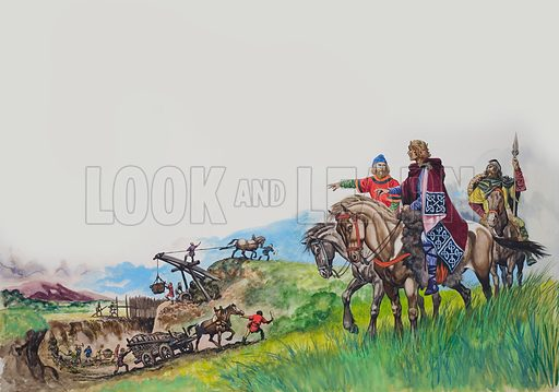 King Offa, watching his dyke being built.  Original artwork for illustration on pp16-17 of Treasure issue no 25.