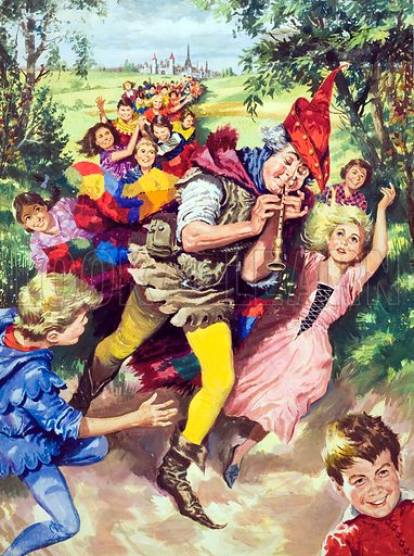 The Pied Piper of Hamelin.  Original artwork for illustration on p20 of Look and Learn issue no 38 (6 October 1962).