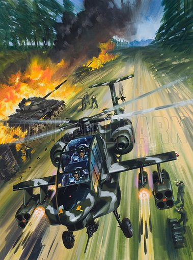 Tank Killers.  Original artwork for cover of Look and Learn issue no 738 (6 February 1976).